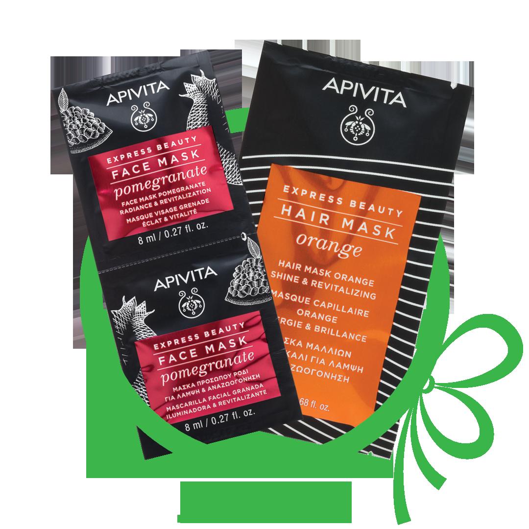 Badge for Δώρο Apivita μάσκα προσώπου Ρόδι 2x8ml + Μάσκα μαλλιών πορτοκάλι 20ml με αγορές Apivita άνω των 35€