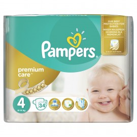 PAMPERS PREMIUM CARE No4 (8-14kg) 34τμχ